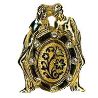 Damascene Gold Gemini the Twins Zodiac Tie Tack / Pin by Midas of Toledo Spain style 5315