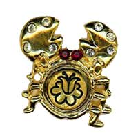 Damascene Gold Cancer the Crab Zodiac Tie Tack / Pin by Midas of Toledo Spain style 5316