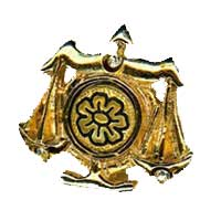 Damascene Gold Libra the Scales Zodiac Tie Tack / Pin by Midas of Toledo Spain style 5319