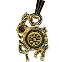 Damascene Gold Capricorn the Goat Zodiac Pendant on Chain Necklace by Midas of Toledo Spain style 5415